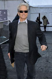 Michael Douglas' gray tweed blazer dressed up a casual pair of jeans and gray sweater.