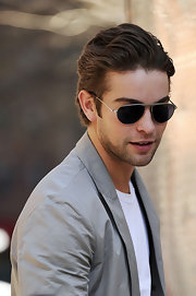 Chace Crawford paired his gray blazer with silver aviator shades.