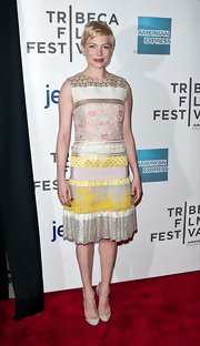 For the Tribeca Film Festival, Michelle Williams wore this iridescent patchwork cocktail dress.