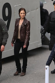 Minka Kelly sported a classic leather jacket for her rough-and-tumble look on the set of 'Human.'