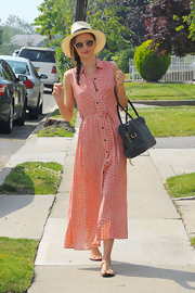 Miranda made street style look easy when she donned this patterned red shirtdress.