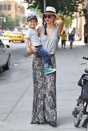 Miranda chose a free-flowing gray tank to pair with her printed skirt.
