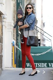 Miranda Kerr too her son out to the Children's Museum in NYC wearing a pair of classic black leather flats.