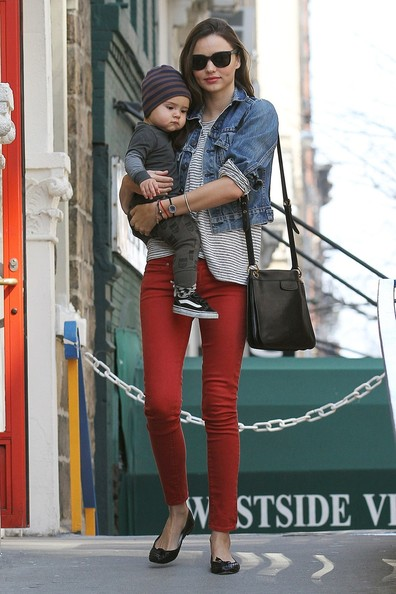 Miranda Kerr and Flynn in Matching Stripes
