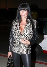 Angela Raiola was spotted out in L.A. wearing an animal print jacket with leather sleeves.