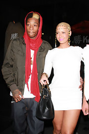 Wiz Khalifa stepped out with Amber Rose for dinner at Katsuya in a green zip-up jacket and jeans.
