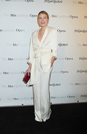 Dree Hemingway wore this white kimono pantsuit to the Metropolitan Opera's premiere of 'Manon' in NYC.