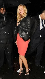 Erin Heatherton tried to keep warm amidst a Nor'eastern storm in this luxe leather jacket.