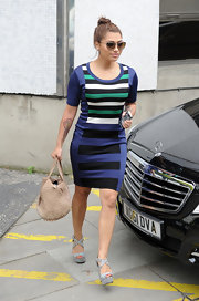 Vanessa chose a cool striped dress for her modern abstract look.
