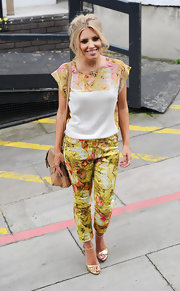 Mollie King wasn't afraid to match her top and her bottom when she wore this chartreuse and pink printed top.