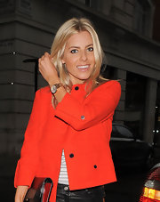 Mollie King topped off her casual yet smart ensemble with a gold quartz watch during a visit to the BBC Radio 1 studio.
