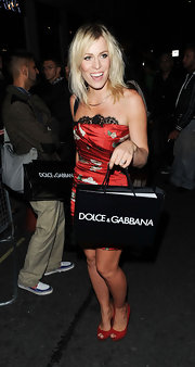 Natasha Bedingfield attended a celebration of Naomi's career with Dolce and Gabbana wearing a pair of sexy red peep toe pumps.
