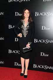 "Barbara Hershey carried an elegant black satin clutch to the New York premiere of ""Black Swan."""