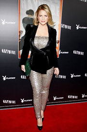 Carrie Keagan wore a silver sparkling jumpsuit under her velvet blazer for the 'Haywire' premiere in LA.