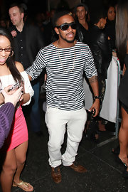 Omarion must have channeled his inner gondolier when he pulled off this black-and-white striped knit top!