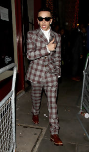 Dappy went for a vintage feel with his gray and red checkered suit.