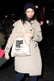 Rachel Weisz left the Lyric Theatre carrying a canvas London Fashion Week tote.