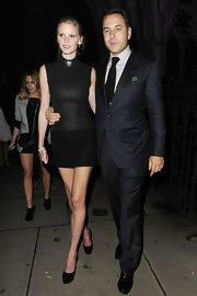 Lara looked sleek while out to dinner in London wearing a mock neck LBD.