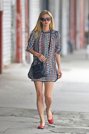Nicky Hilton's tribal-print shift dress had a fun and colorful vibe to it.