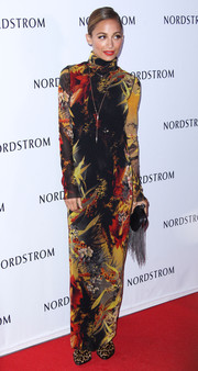 Nicole Richie was all covered up in a long-sleeve, floor-length floral dress by Jean Paul Gaultier when she attended the Nordstrom gala.