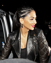 Nicole Scherzinger styled her hair in funky cornrow braids and a long pony tail for a cool and edgy look.