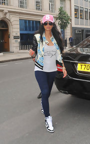 Nicole Scherzinger wore a floral printed bomber jacket while out in London.