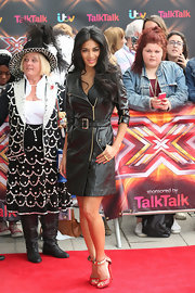 Nicole Scherzinger wore this fitted black leather coat dress to the 'X Factor' photo call in London.