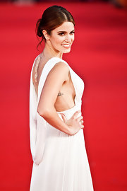 Nikki Reed wore her hair in a pretty, mussed updo at the premiere of 'Breaking Dawn.'