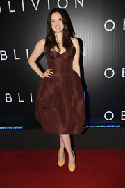 Andrea Riseborough chose this strapless, bustier dress with a full skirt for her red carpet look at the 'Oblivion' premiere.