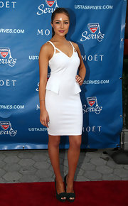 Olivia chose a classically sleek dress for her red carpet look at the opening night of the US Open.