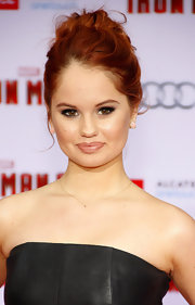 Debby Ryan jumped on the nude lip trend with this slightly shiny version.