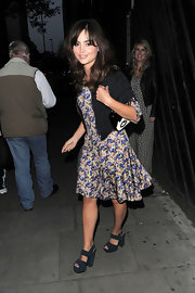 Jenna chose this girly, floral, fit-and-flare dress for her look at the Lulu Guinness Paint Project launch party.