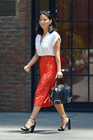 Olivia Munn Leather Bowler Bag