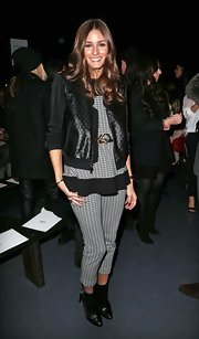 Houndstooth skinny pants made Olivia Palermo stand out at the Tibi Fall 2013 runway show.