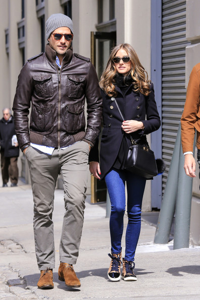 Johannes Huebl showed he shares girlfriend, Olivia Palermo's, good style with this brown bomber.