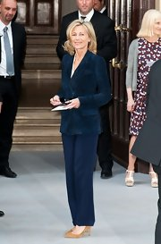 Claire Chazal looked effortlessly chic in a navy blue pantsuit.
