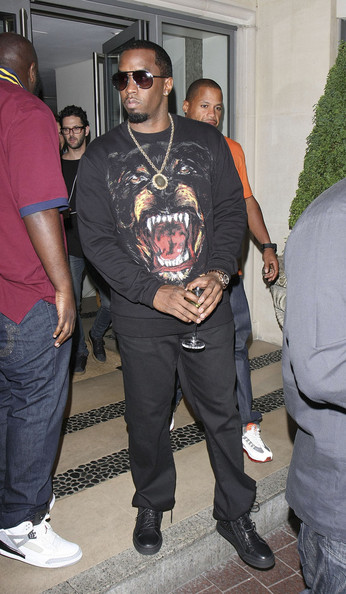 Sean Combs finished off his all-black ensemble with a pair of leather sneakers during a party at the SoHo Hotel.
