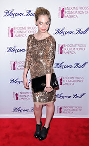 Cory Kennedy glittered in this gold sequined cocktail dress to the Blossom Ball.