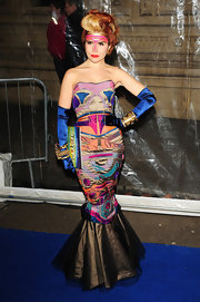 Paloma Faith made quite the statement in a bright quilted evening dress at the 'Totem' show in London.