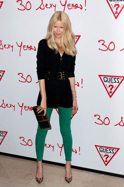 Claudia Schiffer stepped out to the Guess 30th Anniversary celebration wearing a sexy pair of animal print pumps.