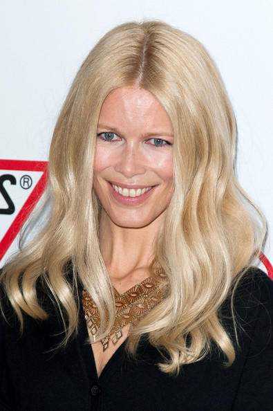 Claudia Schiffer wore her signature long blond locks in flowing waves at the Guess 30th Anniversary celebration.