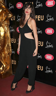 Paz de la Huerta wore this black draped jumpsuit with daring cutouts to the 'Feu' premiere in Paris.