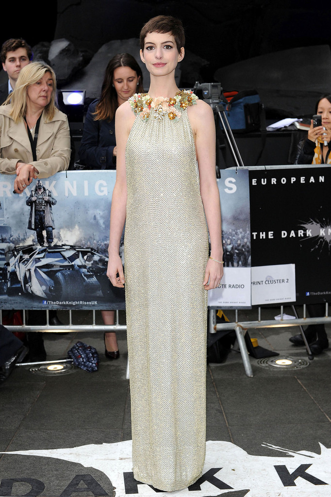 "Anne Hathaway attends the UK premiere of the new film ""The Dark Knight Rises"", held in Leicester Square, London."