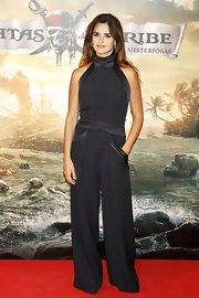 Penelope Cruz was cutting edge at the Pirates premiere in a unique halter jumpsuit.