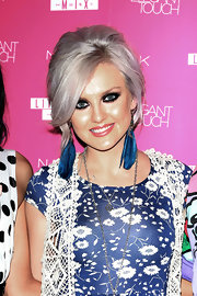 Perrie Edwards showed off her silver locks with this wild and edgy graduated bob with touch of teasing at the crown.