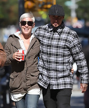 Carey Hart was out and about in New York City wearing a checkered button-down and a baseball cap.