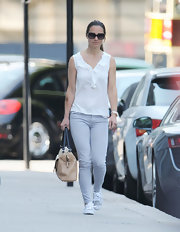 Pippa Middleton kept things casual in a pair of light powder blue skinny jeans.