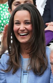 Pippa Middleton kept her look casual and natural with a long layered chop.