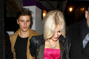 Pixie Lott and boyfriend Oliver Cheshire make a premature exit from London's Movida nightclub, where she was celebrating her 20th birthday. Pixie's partying was cut short by a suspected bomb alert in nearby Oxford Circus.