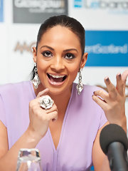 Alesha Dixon topped off her glimmering earrings with a colossal cocktail ring.